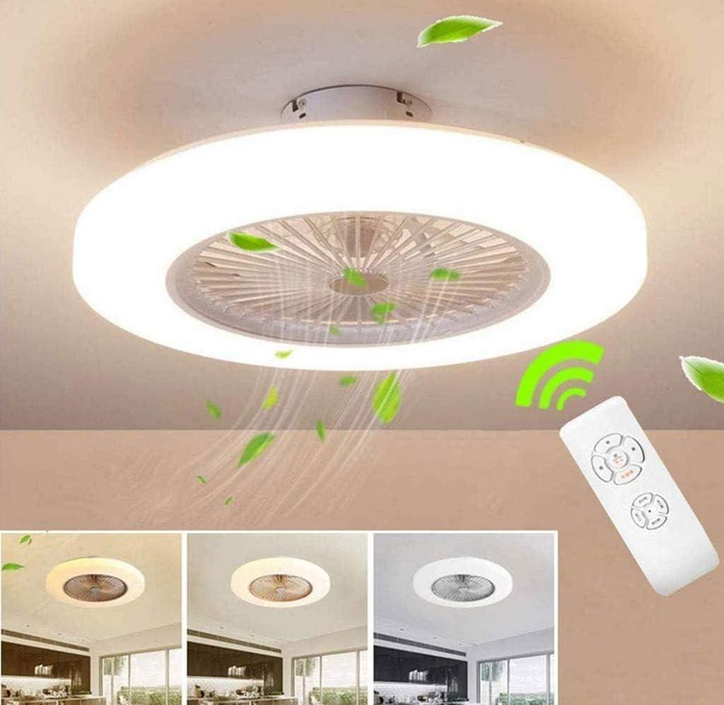HGW Ventilador De Techo con Lámpara 36W Creativo Ventilador Invisible LED Lámpara De Techo Control Remoto Regulable Ultra Silencioso Lata Tiempo Ventilador Lámpara [Clase De Energía A ++],Clear