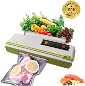Vacuum Sealer Food Saver machine Fruits Meat Fish Coffee Wine Containers Preservation Sealer Vacuum Packing Machine Uparade Own Cutting Knife Bag Slot Multi-Function Vacuum Food Machine One Roll of Bags (Green)