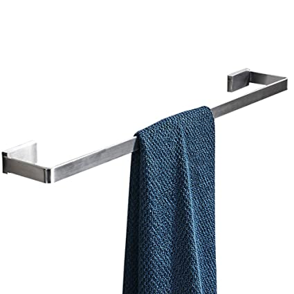Stainless Steel Single Square Towel Bar Towel Rack Holder Wall Mounted Bathroom