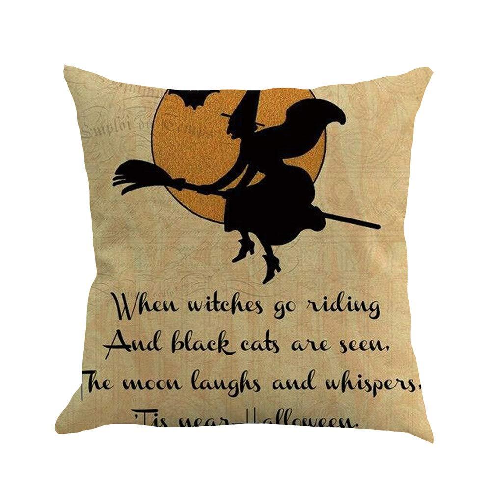 Pgojuni Halloween Pillow Case Sofa Waist Cushion Cover Pillow Case for Sofa/Couch 1pc (45X45 cm) (A)