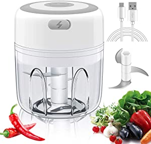 Electric Mini Garlic Chopper Food Processor, 250ML Food Chopper And Onion Chopper, Portable USB Waterproof Mini Onion Chopper for Garlic/Onions/Pepper/Meat/Chili-Green(250ML)
