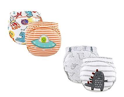 100% pantalones de entrenamiento de algodón ropa interior niños niñas impermeables, bebé niño pañales