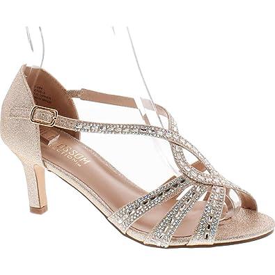 cc4fb219d39ee Women's Rhinestone Shimmer Material Kitten Heel T-Strap Sandal Nude 6