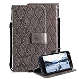 #8: For Samsung Galaxy J7 Prime Case, Aearl 3D Embossed Rattan Flower Pattern PU Leather Wallet Stand Flip Case with Card Holder Wrist Strap Free Screen Protector for Samsung Galaxy J7 Prime - Gray