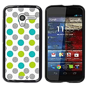 For MOTO X / XT1058 / XT1053 / XT1052 / XT1056 / XT1060 / XT1055 Case , Dot Green Silver Sparkle White Glitter - Diseño Patrón Teléfono Caso Cubierta Case Bumper Duro Protección Case Cover Funda