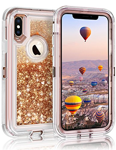 """Coolden 3D Floating Glitter Case for iPhone X, Sparkle Dual Layer Quicksand Liquid Cover Clear Shockproof Bumper Anti-Drop PC Frame + TPU Back for 5.8"""" Apple iPhone X (Light Coffee)"""