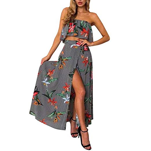 977bdeec66 Amazon.com: 2019 Women Striped Floral Print Strapless Tube Top + Summer  High Split Maxi Beach Skirts Sexy 2 Piece Outfits Sets: Clothing