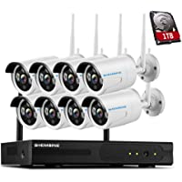SHEMSINZ 8CH 960P HD Wireless Security Camera System,8x1.3Megapixel WiFi Outdoor IP Camera Security Network NVR Recorder WiFi Kit,Support Remote Smartphone View,1TB HDD