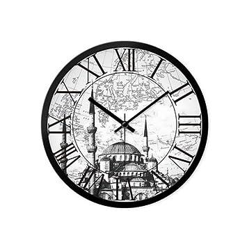 YuYa Relojes de Pared Sala de Estar Oficina Retro Moderno Mudo Reloj de Cuarzo Grande Reloj Mesa Colgando: Amazon.es: Hogar