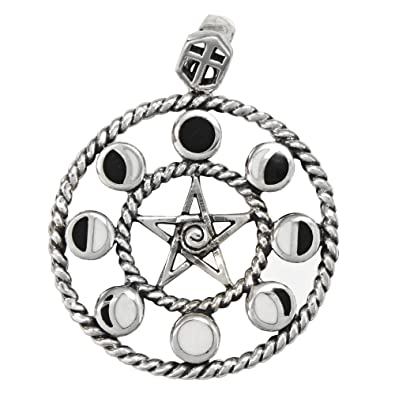 Amazon sterling silver moon phase pentacle pentagram pendant 1 sterling silver moon phase pentacle pentagram pendant 1 inch diameter mozeypictures Choice Image