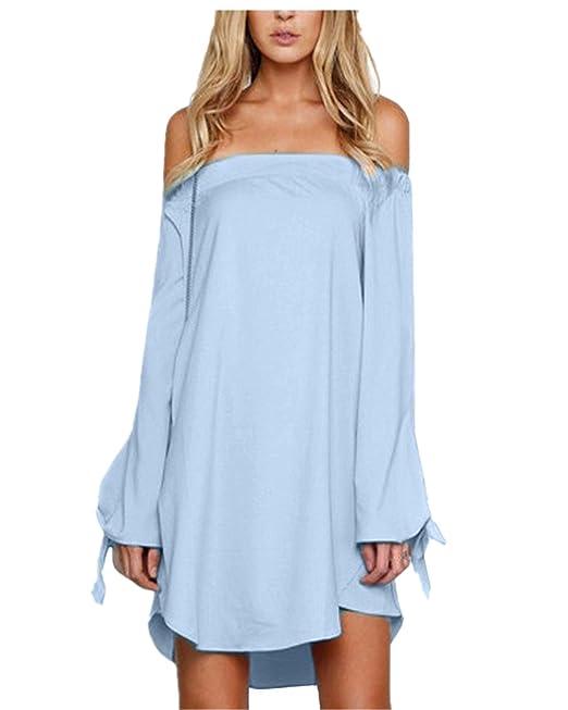 e8501cadd9b6 StyleDome Sexy Women s Off Shoulder Shirt Dress Long Sleeve Tops Mini Beach  Party Sundress (UK