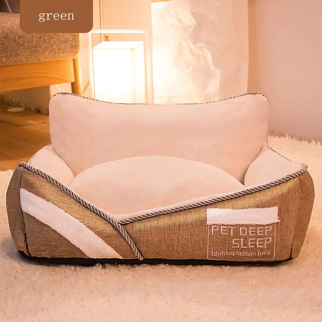 Green 50×40×19cm Green 50×40×19cm Square Sofa Pet Nest, Teddy Big Medium Kitten Dog Detachable Bed Home Super Soft Pad Non-Slip Pet Supplies (color   Green, Size   50×40×19cm)