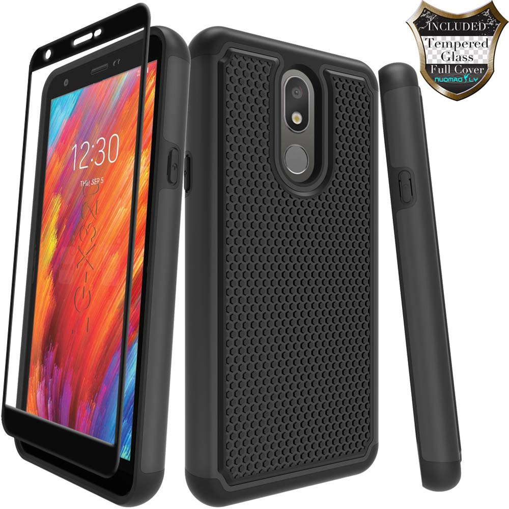 LG Prime 2/Aristo 4 Plus/Escape Plus/Arena 2/Tribute Royal/Journey LTE/K30 2019/X320 Case with [Tempered Glass Screen Protector] Nuomaofly Rugged Heavy Duty Shock-Absorption Protection (Black)