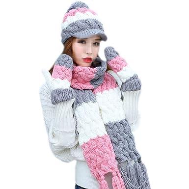 986da46eb19 Scarf Hat Gloves Three-piece Ladies Winter Wool Hat Knit Hat