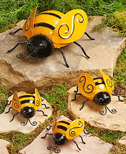 The Lakeside Collection Set of 4 Metal Garden Bees ()