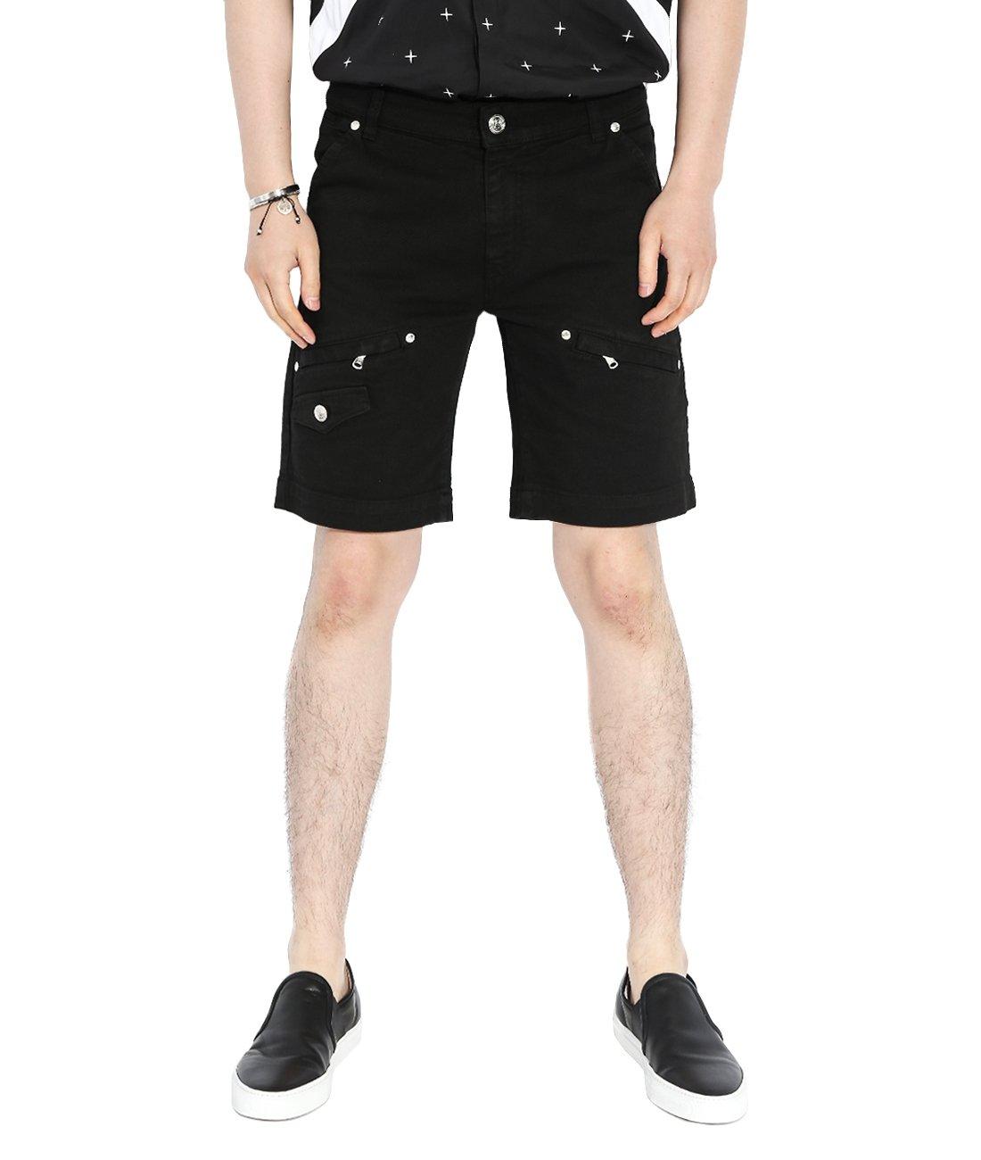 Wiberlux Pierre Balmain Men's Multi Pocket Rivet Studded Shorts 52 Black