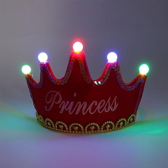 Amazon.com: eDealMax Fiesta de cumpleaños de Los hogares en Forma de Corona Princesa Carta de Bolas casquillo de la luz LED roja 2 PCS: Home & Kitchen