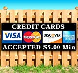 Credit Cards Accepted 13 oz Heavy Duty Vinyl Banner Sign with Metal Grommets, New, Store, Advertising, Flag, (Many Sizes Available)