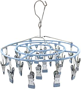 Stainless Steel Clothe Drying Rack Laundry Drip Hanger 24 Clip Metal Clothespins Round Underwear Lingerie Sock Hat Boot Large Heavy Duty Portable Indoor Outdoor Baby Wet and Dry Dryer (24 Round)