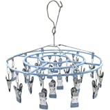 Stainless Steel Clothe Drying Rack Laundry Drip Hanger 24 Clip Metal Clothespins Round Underwear Lingerie Sock Hat Boot Large