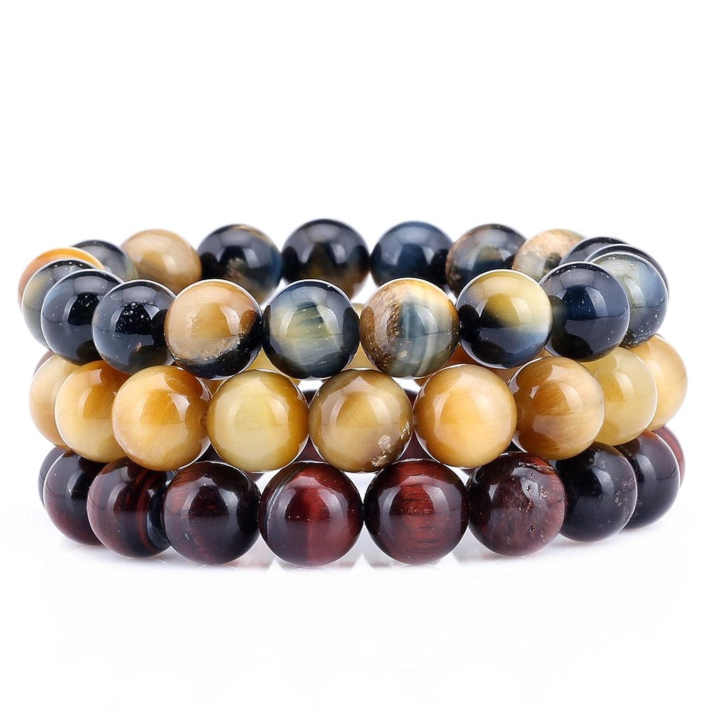 10MM Tiger Eye 7-7.5 Inch Stretchy Adjustable Stackable Bracelet Set of 3