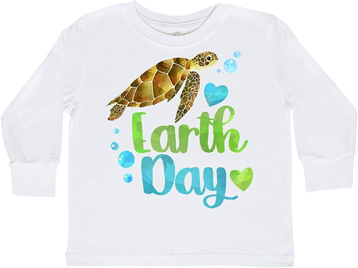 inktastic Earth Day Sea Turtle and Hearts Toddler Long Sleeve T-Shirt