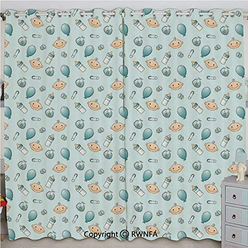 Justin Harve window Infant Head with Balloons Pacifiers and Milk Bottles Newborn Inspired Decorative Printed Curtain Set of 2 Panels(84