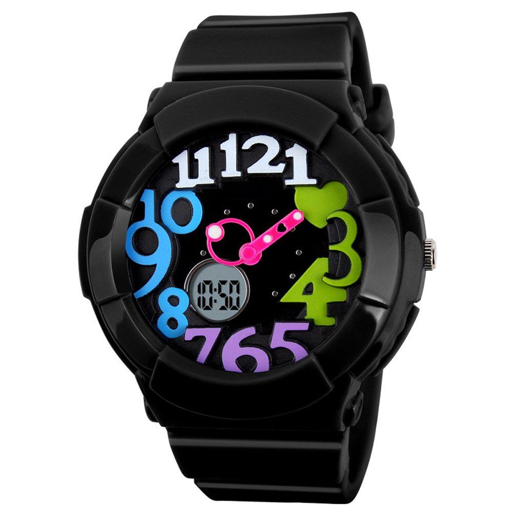 VIGOROSO Women's Girl Fashion Digital Analog Date Silicone Jelly Waterproof Sport Watch(Black&Multicolour)