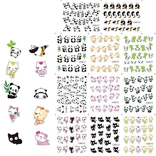 (KADS Cute Panda Kung Fu Panda Nail Art Water Decals Transfer Stickers Water Transfer - 1 Pack 11 design)