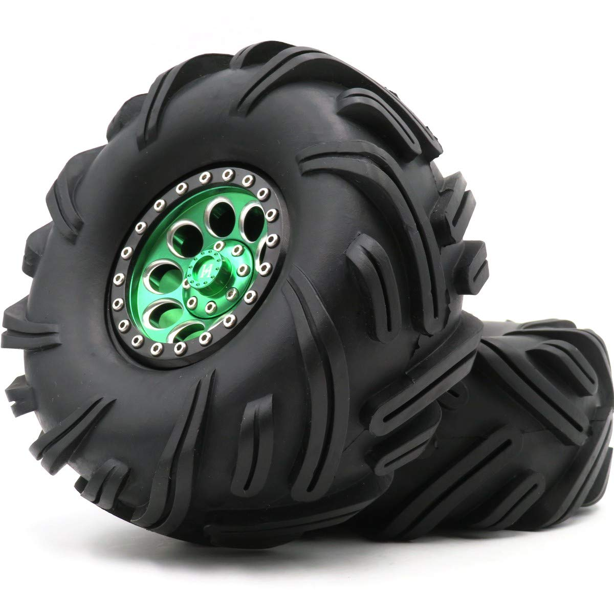 2pc 2.2 Crawler Mud Terrain Tire Tyre Height 135mm & Alum 2.2 BeadLock Wheel Rim