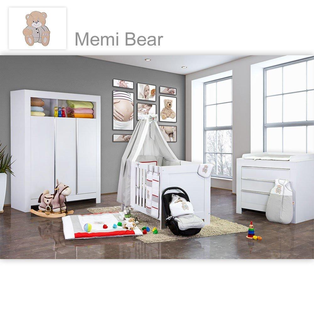 Babyzimmer Felix in weiss 19 tlg. mit 3 türigem Kl + Memi Bear in Grau