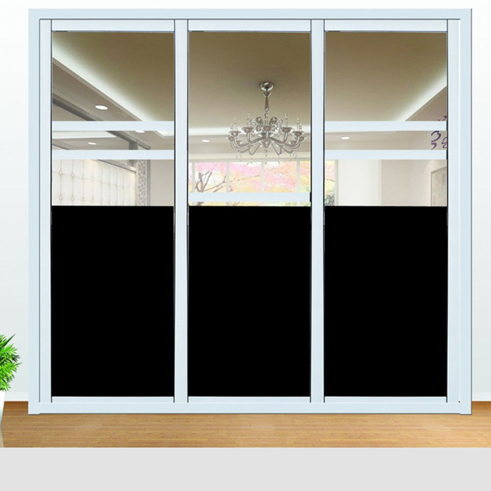 Homa Non-Adhesive Frosted Privacy Window Film Blackout Window Film Suitable for Both Home And Office (45 X200 cm)