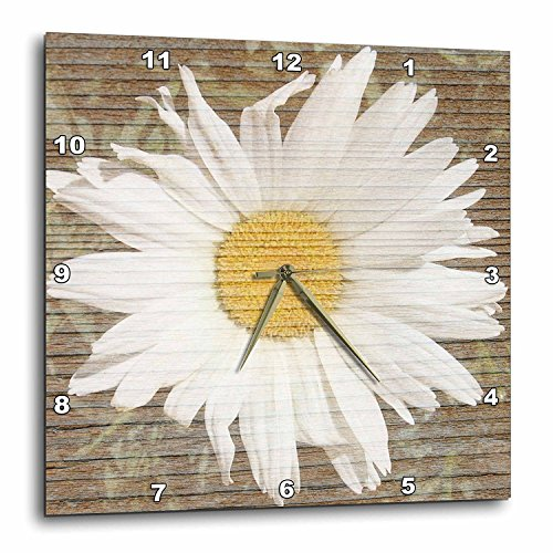3dRose DPP_29343_3 Daisy Wood Design Flowers Wall Clock, 15 by 15-Inch ()