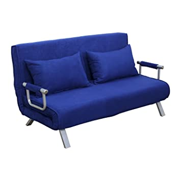 HOMCOM Queen Size Convertible Sleeper Sofa Bed Chair Lounge Couch Folding  Arm 5 Position Adjustable -Blue