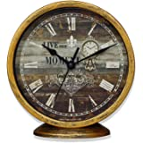 Classic Silent Desk Clock, 6 Inch Non-Ticking Decor Gold Wall Clock Easy to Ready for Kitchen/Bathroom/Office