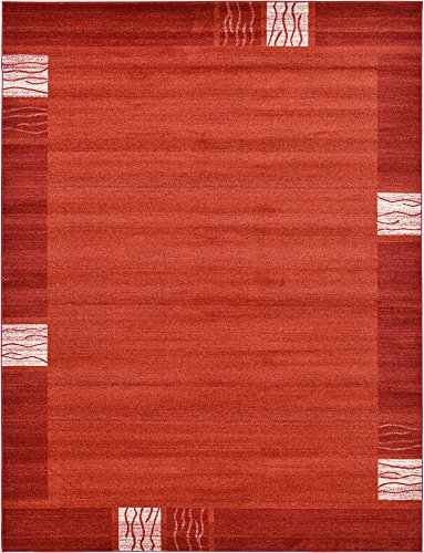 Unique Loom Del Mar Collection Contemporary Transitional Rust Red Area Rug (9' 0 x 12' 0) ()
