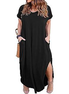 b59ebab76d7a Nemidor Women s Casual Loose Pocket Long Dress Short Sleeve Plus Size Slit Maxi  Dress