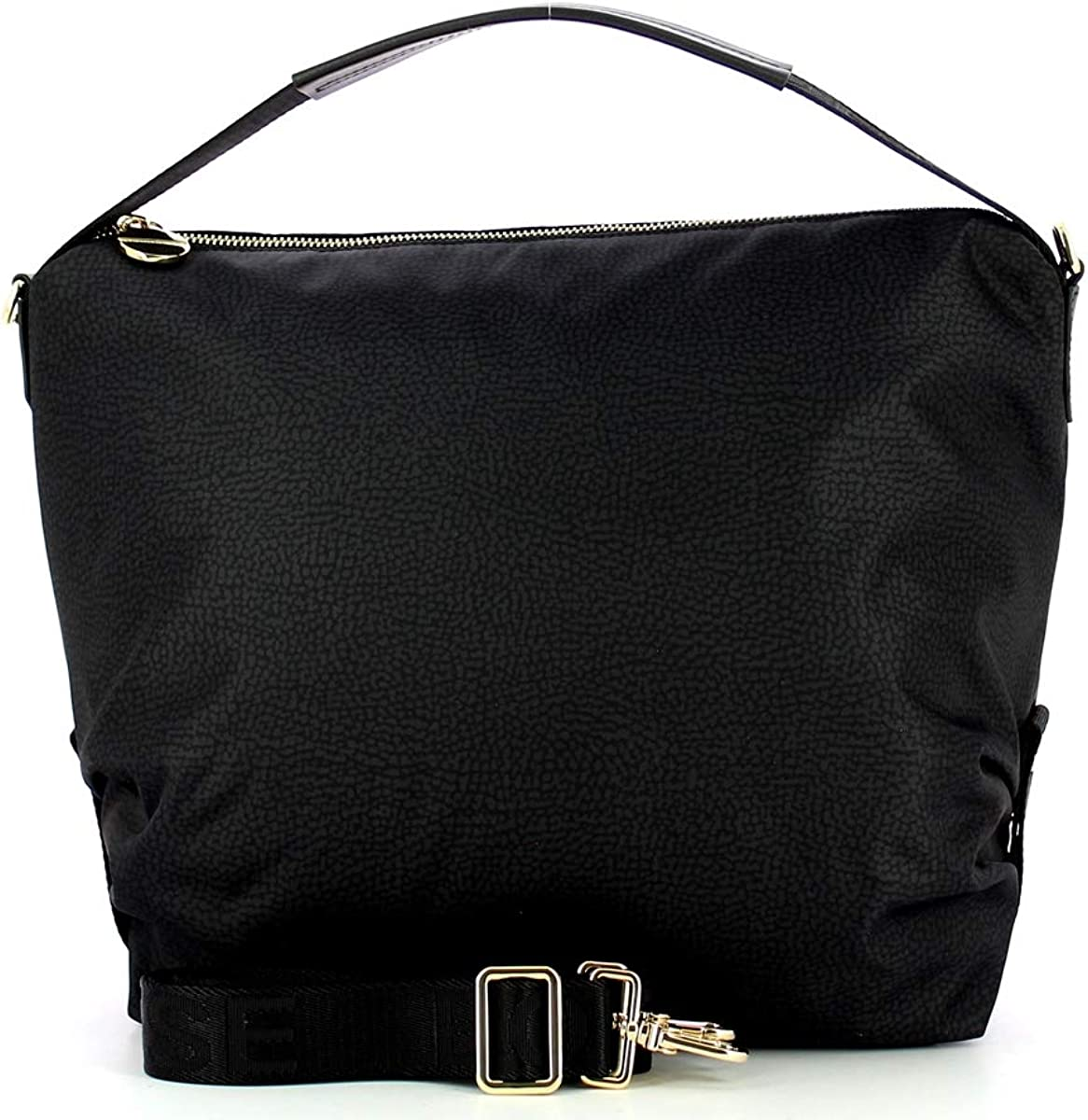 Borbonese Monospalla Hobo Bag Medium Nero