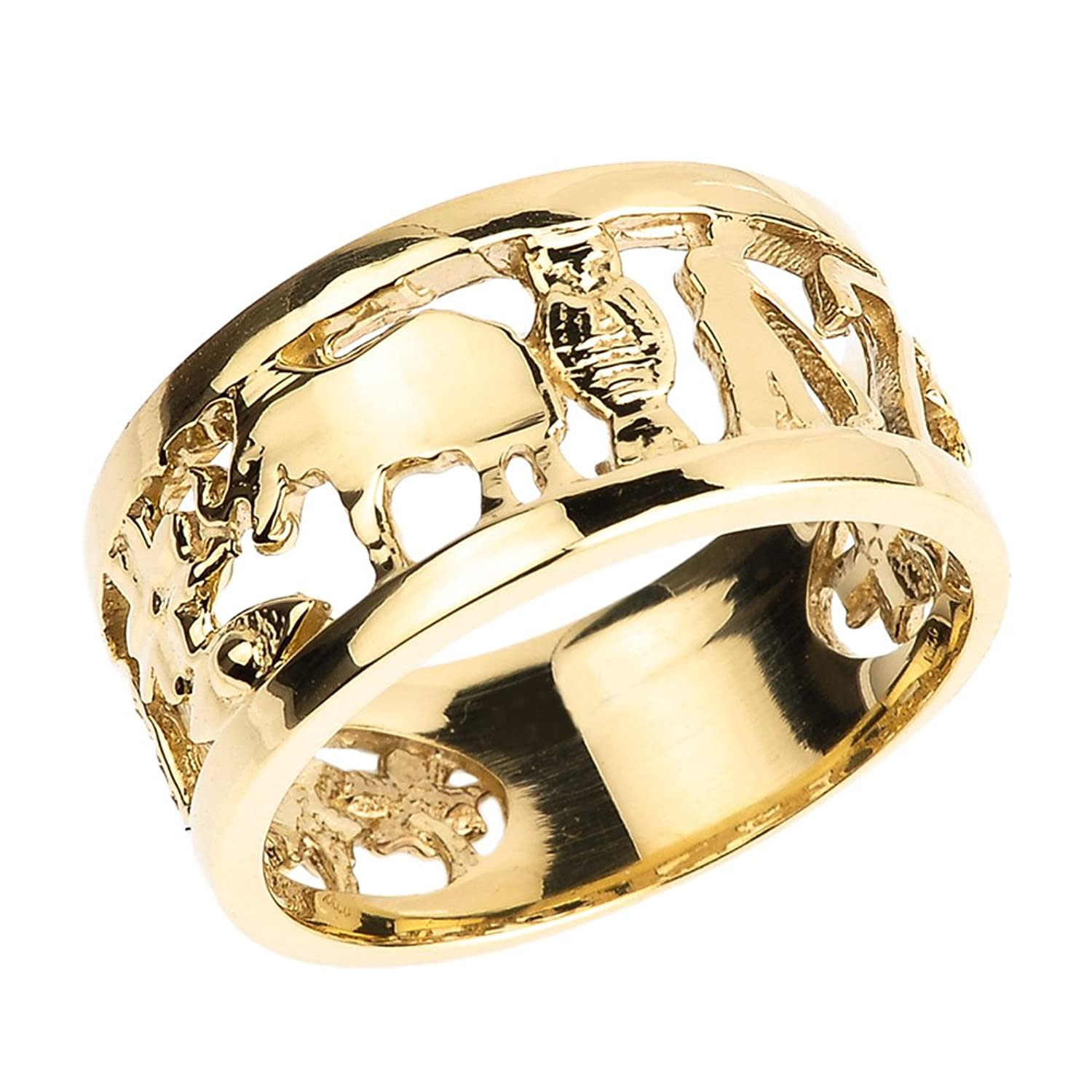gold com tone tri polished amazon dp textured shsu openwork ring elephant band three jewelry rings