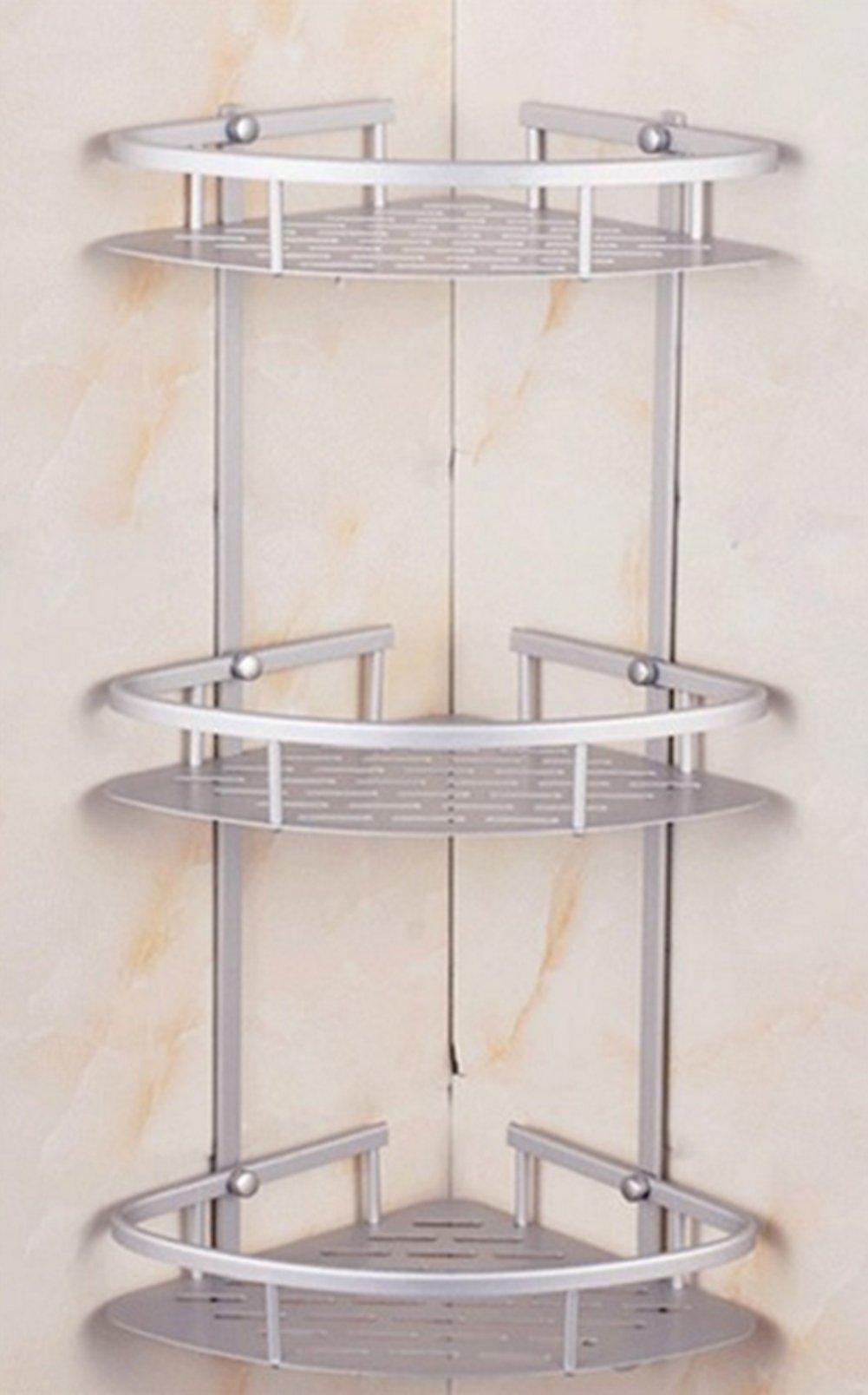 Aluminum Bathroom 2-Tier Corner Shelf Basket Wall Mounted, Silver Sand Sprayed (3 Tier)