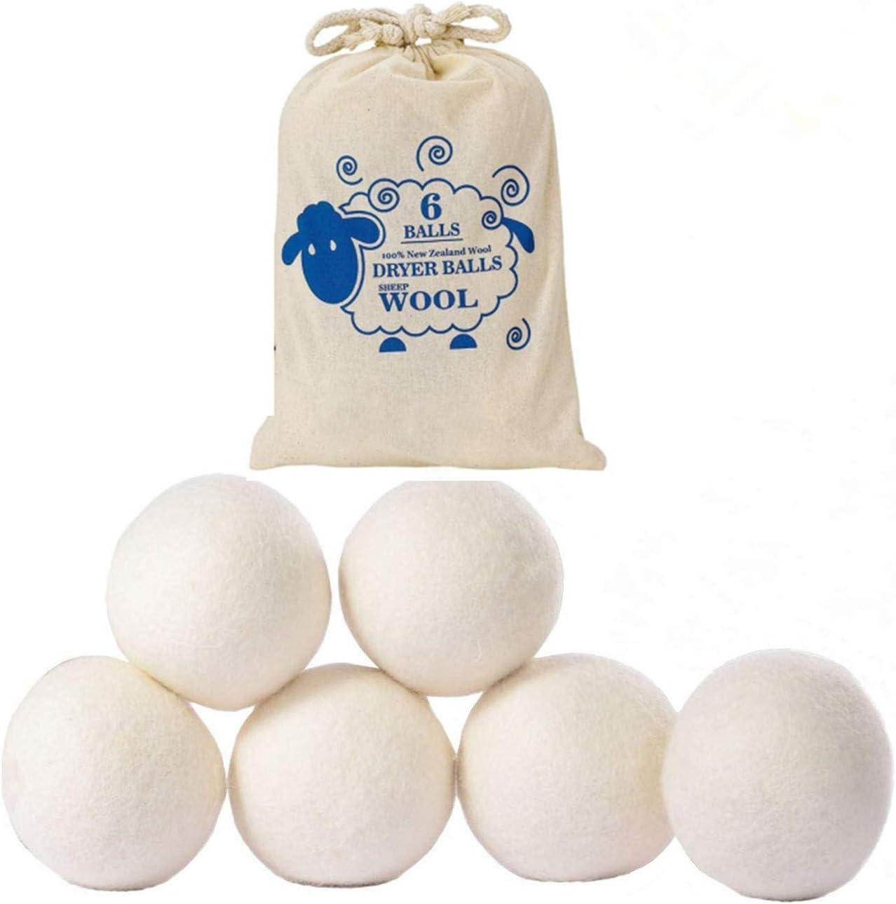 Bolas de Secado,6 Pack Reutilizable Bolas Lana Secadora Natural Elimina la Bola de Lavandería Estática,Segura y sin Perfume Ahorra Tiempo de Secado y Reduce el Suavizante de Arrugas