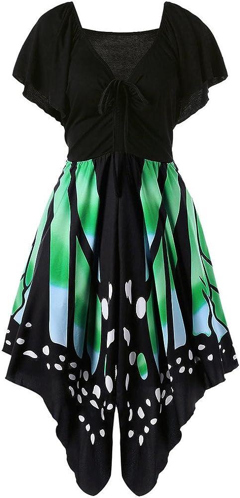 FRAUIT Hohe Taille Schmetterlingsfl/ügel Kleid Damen Kurzarm Butterfly Tube Kleid Strandkleider Partykleid Abendkleid Minikleid Schmetterling Druck Asymmetrie Riemen Kleid Bluse