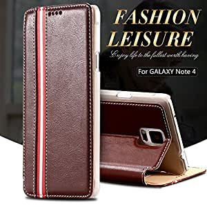 Note 4 Stripe PU Leather Flip Cover For Samsung Galaxy Note 4 Full Wallet Bag Stand Case For Note 4 N9100 N9106W N9108V N9109W --- Color:Sky Blue
