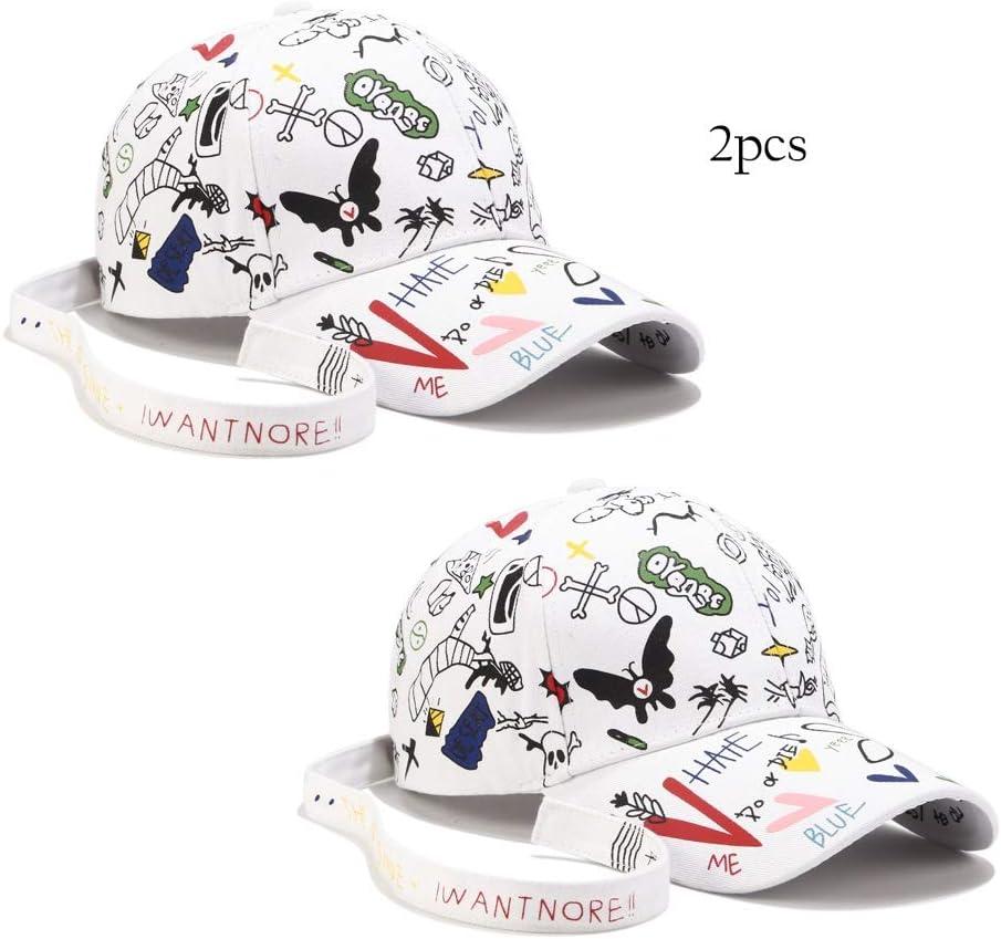 Yokst Pack de 2 - Hombres Mujeres Gorra de béisbol Mariposa Alfabeto Graffiti Diseño Original Sombrero con Correa Larga Sombrero de Sol Ajustable al Aire Libre (Color : Blanco): Amazon.es: Deportes y