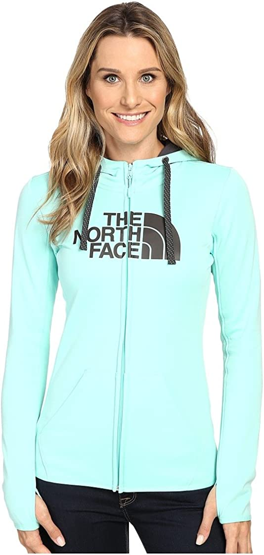 Ice Green//Asphalt Grey North Face Womens W Fave Half Dome Full Zip Hoodie L