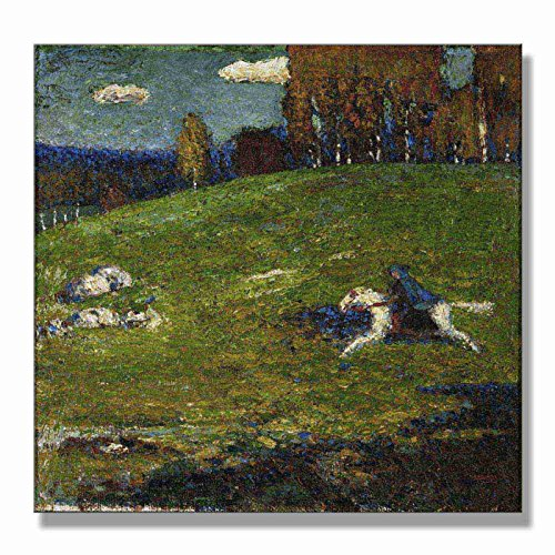 Wassily Kandinsky The Blue Rider 1903 Original Landscape Figure Canvas Paintings Hand Painted Reproduction Tablet - 36X36 inch (91X91 cm) for Living Room Bedroom Dining Room Wall Decor To DIY Frame - Wassily Kandinsky The Blue Rider