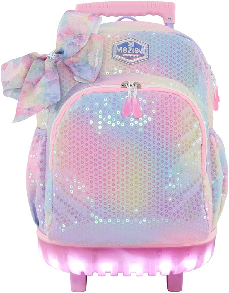 """Mozioni Girls Rolling Backpack,Kids Luggage -18"""" School Trolley Backpack Carry-on Wheel Bags"""