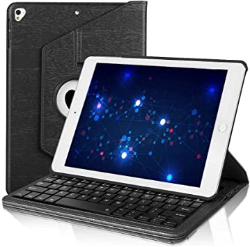 Compatible with iPad Air 2 iPad Pro 9.7 2016 New iPad 9.7 2017 2018 Smart Touchpad Bluetooth American Keyboard and Tablet Leather Protective Case Black