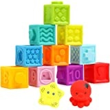 Lemostaar Baby Blocks Soft Easy to Squeeze Sensory Stacking Blocks for Babies Textured Educational Baby Building Blocks…