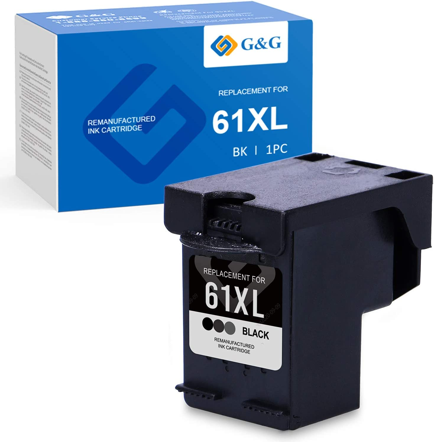 G&G Remanufactured Ink Cartridges Replacement for HP 61 61XL use with HP OfficeJet 4630 4500 4635 4632 2620 Envy 5530 5535 4502 4501 DeskJet 2540 3050 3510 1000 2050 1512 1510 (Black, 1-Pack)